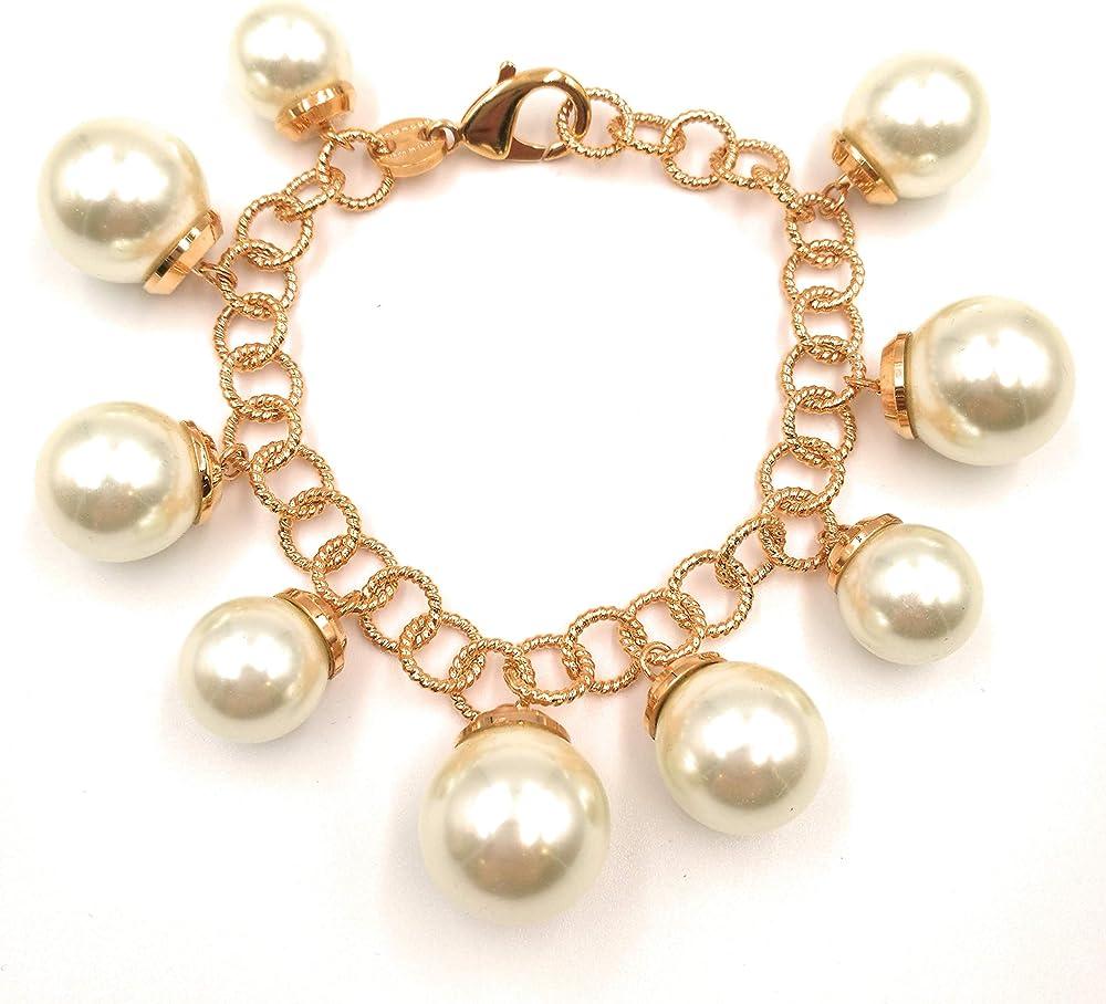 Rebecca bracciale donna, bronzo placcato oro rosa, con perle pendenti BMBBOO04