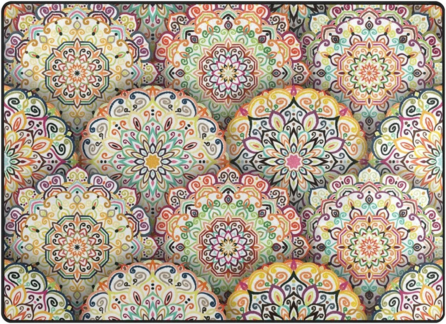 SUABO 80 x 58 inches Area Rug Non-Slip Floor Mat Mandala Pattern Printed Doormats for Living Room Bedroom