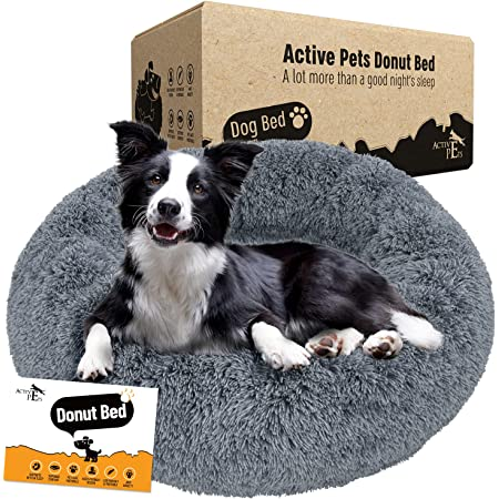 Active Pets Plush Calming Dog Bed, Washable Donut Dog Bed for Small Dogs, Medium & Large, Anti Anxiety Dog Bed, Soft Fuzzy Calming Bed for Dogs & Cats, Comfy Marshmallow Cuddler Nest Calming Pet Bed