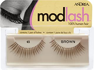 Andrea Mod Strip Lash Pair Style 45, Brown, (Pack of 4)