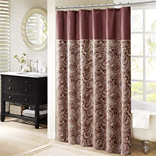 Madison Park Aubrey Design Stripe Top Modern, Jacquard Traditional Shower Curtains for Bathroom, 72 X 72, Burgundy