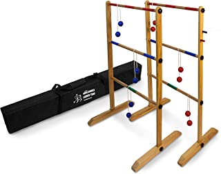 Ladder Toss Double Wooden Ladder Ball Game with Finished Wood and Durable Carrying Case