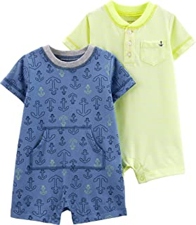 Carter's Baby Boys' 2-Pack Anchor Rompers - Blue/Yellow