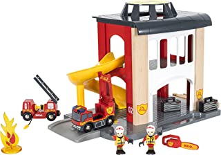 BRIO World - 33833 Central Fire Station | 12 Piece Toy for Kids with Fire Truck and Accessories for Kids Ages 3 and Up