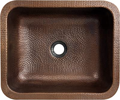 Nantucket Sinks Rehc Hammered Rectangle Copper Bathroom Sink 17 X 14 Single Bowl Sinks