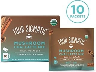 Four Sigmatic Chai Latte with Turkey Tail & Reishi Mushrooms - Dairy-free, USDA Organic Latte with Coconut Milk Powder - Gut, Digestion - 10Count