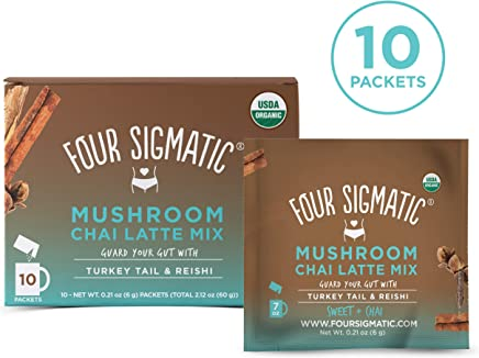FOUR SIGMATIC Mushroom Chai Latte Mix with Turkey Tail & Reishi (10 Packets), 1 x 10 Count