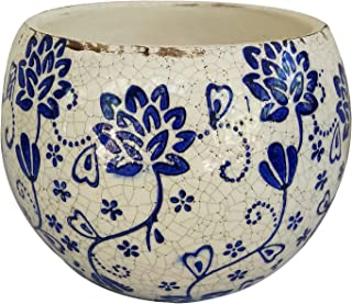 Old World Hand-Pressed Ceramic Blue and White Round planters or Garden pots (Round Shape Flower Print 6.25 inches Tall)