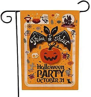 Fiuqaomy Happy Halloween Bat Pumpkin Sorceress Garden Flag Vertical Double Sized, Holiday Burlap Yard Outdoor Decoration 1...