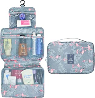 AIDIAN Hanging Toiletry Bag for Women Travel Makeup Cosmetic Compact Organizer with Strong Zippers and Sturdy Hook Blue Pink Flamingo