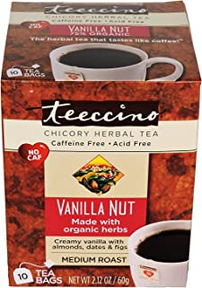 Teeccino Vanilla Nut Herbal Coffee, 10 Count