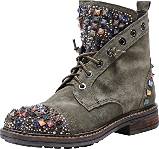 Alma en Pena Women's Embellished Suede Lace Up Boots Green