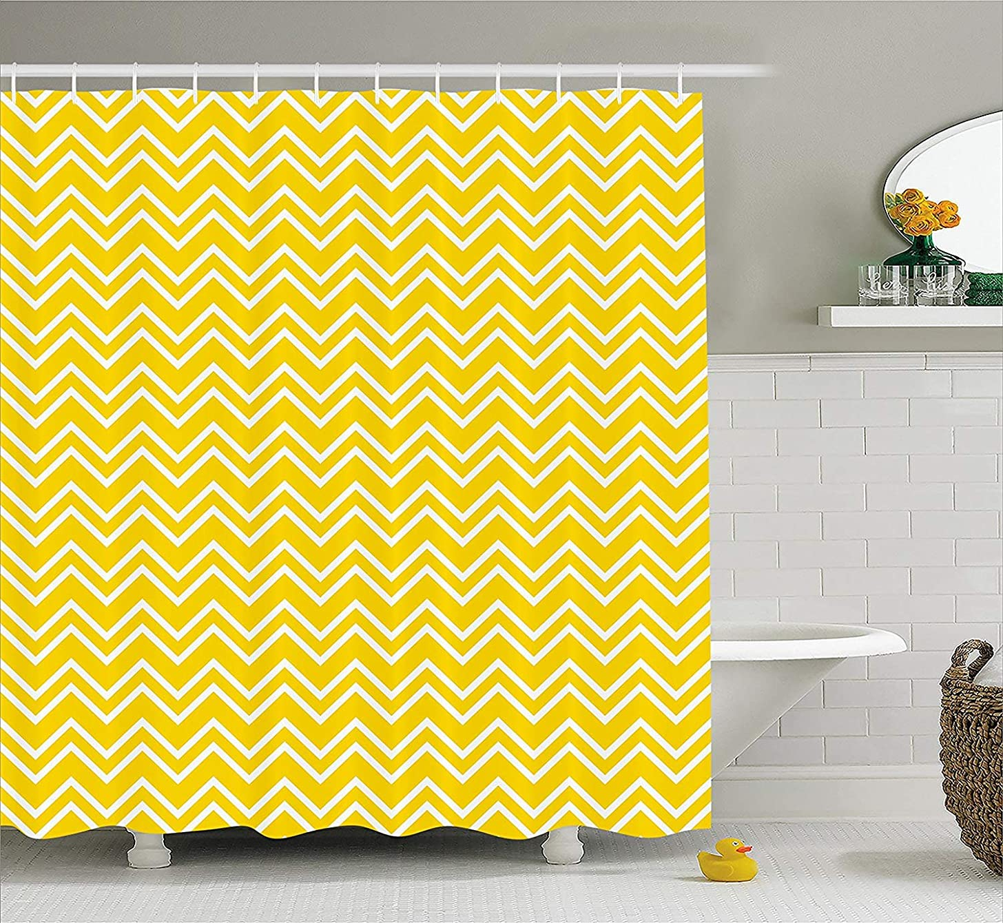 Afagahahs Yellow Decor Shower Curtain Zig Zag Chevron Pattern in Yellow and White Modern Inspired Art Print Fabric Bathroom Decor Set with Hooks Yellow and White