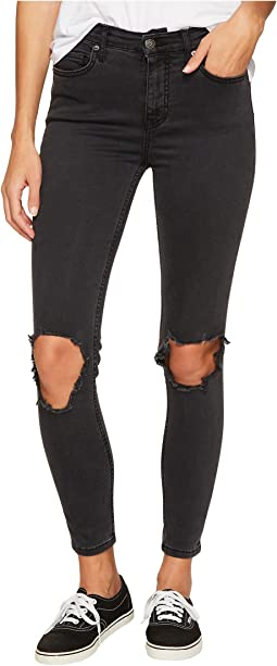 Free People High-Rise Busted Skinny in Carbon