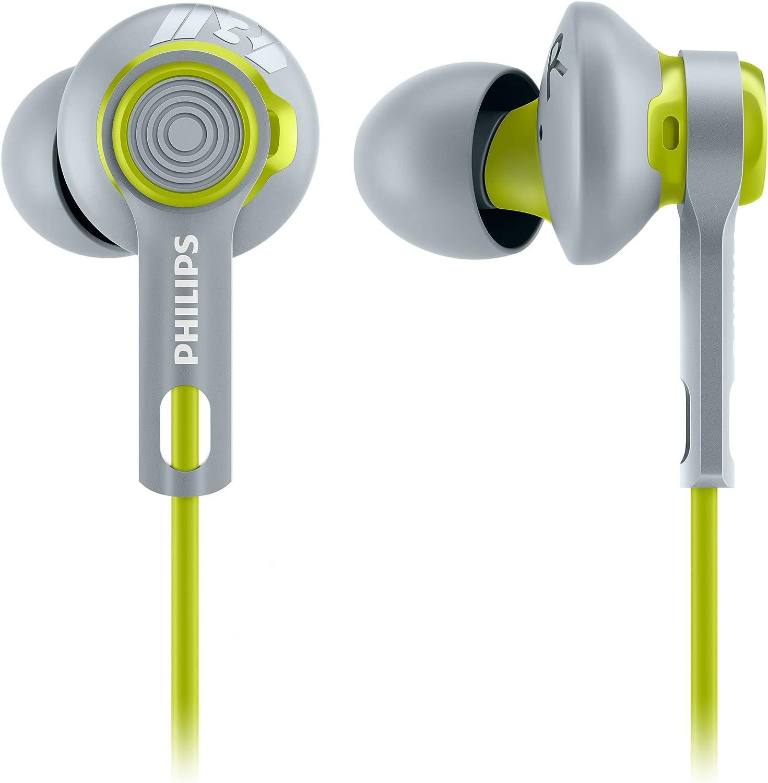 Philips SHQ2300LF ActionFit - Auriculares deportivos (anillo de estabilidad, aislamiento de sonido), lima/gris