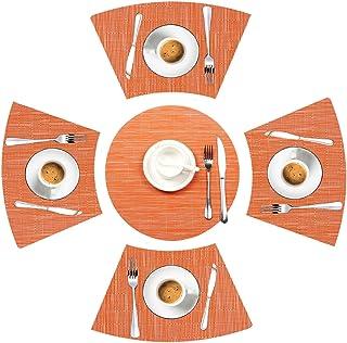 LYPER Lot de 5 sets de table ronds - Résistants à la chaleur - Antidérapants - En vinyle tissé - Orange