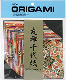 Aitoh Yuzen Washi Chiyogami Origami Paper, 4 by 4-Inch, 40 Sheets