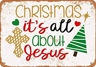 Christmas It's All About Jesus Vintage Look Novelty Metal Sign for Home Decor Tin Sign Plate Plaque for Man Women Cave
