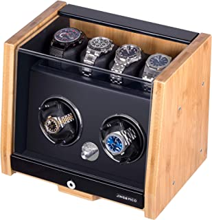 Watch Winder Made of Premium Natural Bamboo Shell for 6 Automatic Watches with High-Gloss Craftsmanship, 4 Setting Modes and Super Quiet Motor, Built-in Lock