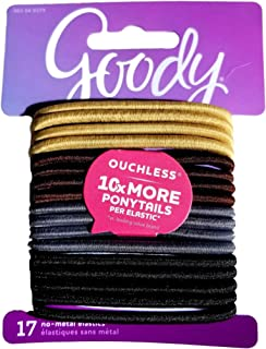 Goody Womens Medium Hair Ouchless Elastics, 17 Count, 4MM (Neutral)
