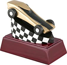 Decade Awards Pinewood Derby Color Resin Trophy - Scout Racing Award - 4 Inch Tall - Engraved Plate on Request