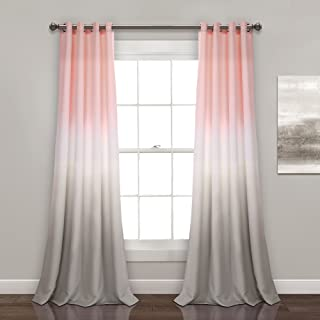 peach and gray curtains