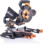 Evolution Power Tools R210SMS+ Sliding Mitre Saw With Multi-Material Cutting, 45° Bevel, 50° Mitre, 230mm Slide, 1500 W, (110 V)