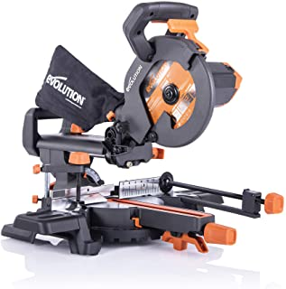 Evolution Power Tools R210SMS+ Sliding Mitre Saw With Multi-Material Cutting, 45° Bevel, 50° Mitre, 230mm Slide, 1500 W, 2...