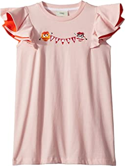 Ruffle Sleeve Logo Pom Pom Graphic T-Shirt (Little Kids)