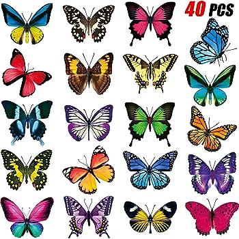 40 Pezzi Adesivi per Finestra Farfalla Adesivi Anticollisione per Finestre Decalcomanie per Prevenire Attacchi di Uccelli sul Vetro della Finestra Adesivo di Vinile Non Adesivo Adesivi Farfalla