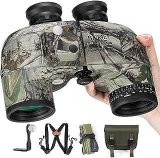 Image of BNISE 10x50 Binoculars for Adults Marine Hunting Rangefinder with Harness Strap Compass, Professional Waterproof Long Distance bino BAK4 Porro Prism -Camo