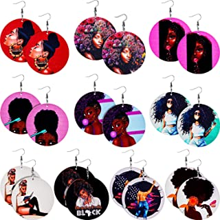 Sponsored Ad - 10 Pairs Round African Women Earrings Wooden Painted Earrings Ethnic Style Earring