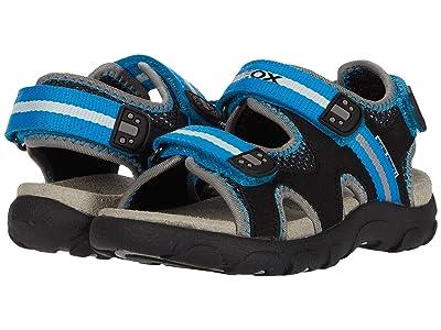 Geox Kids Sandal Strada 19 (Toddler/Little Kid) (Black/Light Blue) Boy