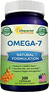 Purified Omega 7 Fatty Acids - 200 Capsules - from Natural Sea Buckthorn, XL Vitamin Supplement, No Fish Bu...