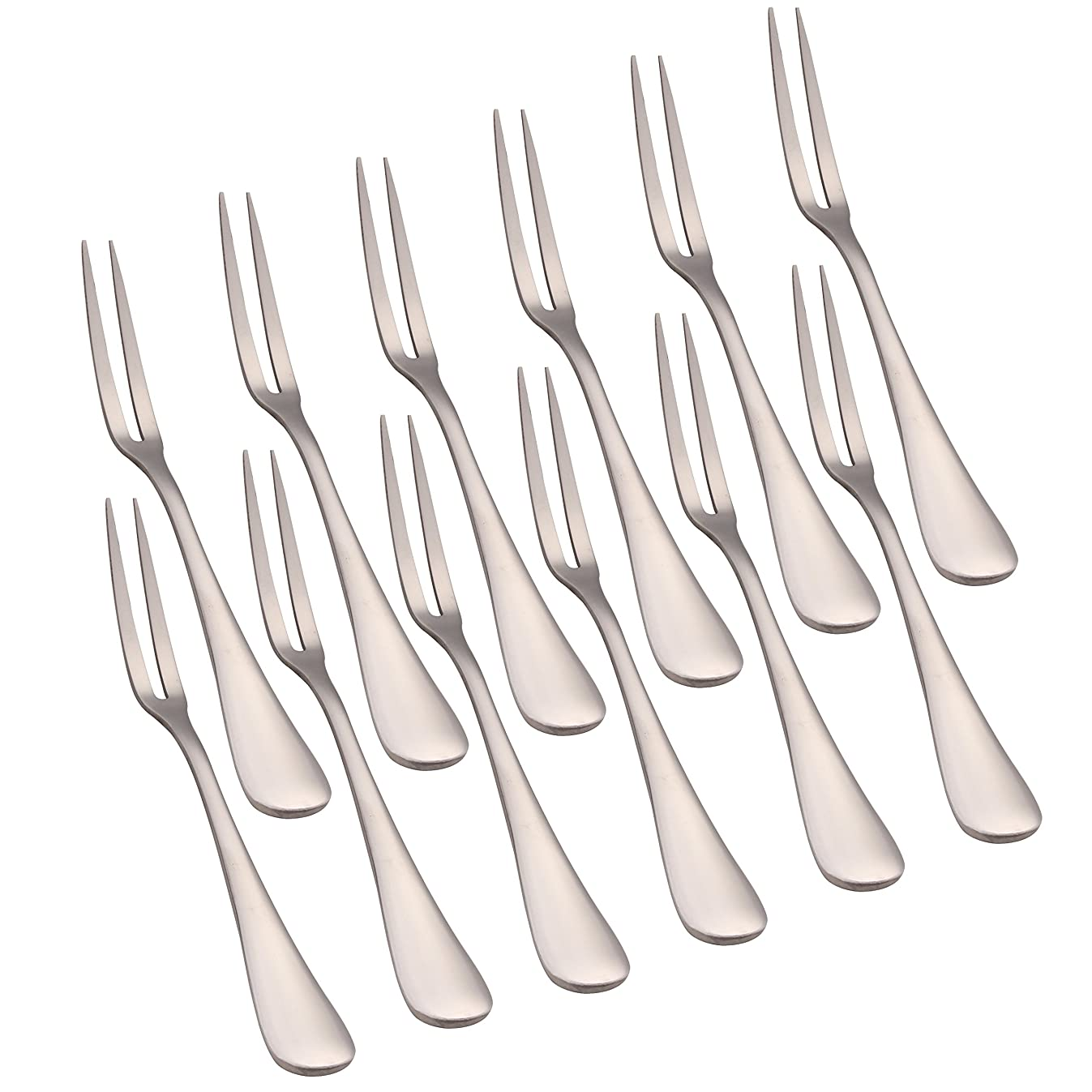 WARMBUY Set of 12 Fruit Forks, Stainless Steel Forks for Bistro Cocktail Tasting Appetizer and Mini Cake