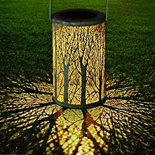 Mobestech Solar Table Lantern, Vintage Metal Leaf Pattern Solar Garden Lantern, Solar Hanging Lantern for Yard Garden Outd...