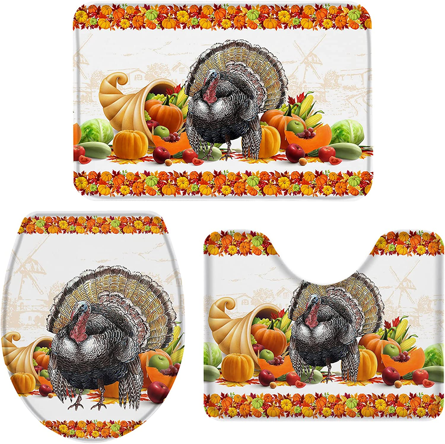 OneHoney Thanksgiving 35% OFF Farm Turkey Fruit 3 New Free Shipping Pieces Rugs M Bath and