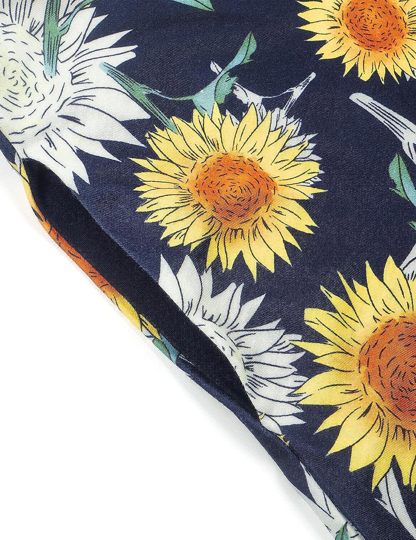 Moyabo Women's Halter Neck Sleeveless Floral Summer Casual Swing Sundress with Pockets