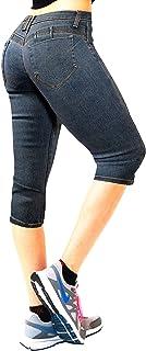 Women's Butt Lift Super Comfy Stretch Denim Capri Jeans Q37362 Medium BLU 7