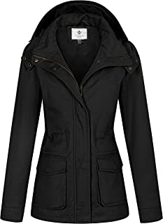 Sponsored Ad - WenVen Women`s Utility Military Anorak Jacket Hooded Lightweight Cotton Casual Coat