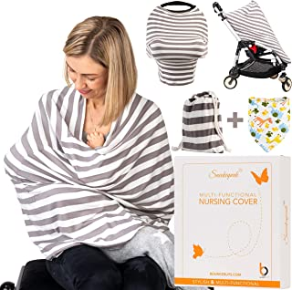 Baby Nursing Cover for Breastfeeding | Baby Car Seat Cover | Soft and Stretchy Multiuse Breastfeeding Cover Ups | Breastfeeding Scarf | Carseat Cover | Nursing Blanket | Stroller Cover | Baby Gift