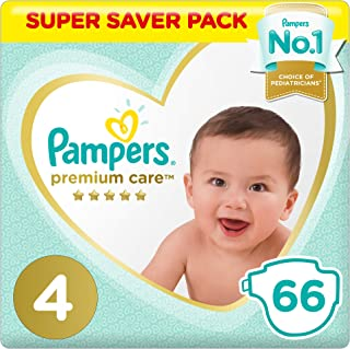 Pampers Premium care Diapers, Size 4, Maxi, 8-14 kg, Jumbo Pack, 66 Count