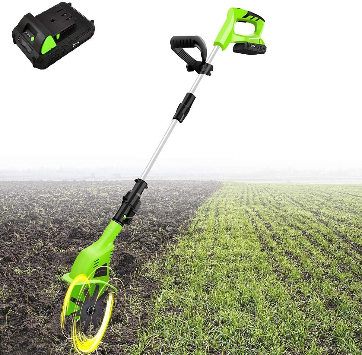 Arado de jardín eléctrico inalámbrico, rotador de jardín telescópico, desbrozadora / cultivador eléctrico, profundidad de trabajo de 25 cm, cultivador de arado de jardín (con batería y cargador de 4.0