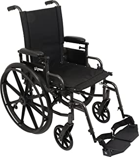 ProBasics Ultra Lightweight Wheelchair for Adults - Height Adjustable Seat - Flip Back Heaight Adjustable Desk Arms - Swing-Away Foot Rest, 20