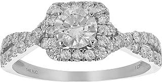 1 CT Diamond Halo Criss-Cross Wedding Engagement Ring 14K White Gold