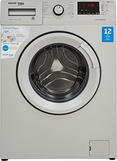 Voltas Beko 6.5 Kg Inverter Fully-Automatic Front Loading Washing Machine, Inbuilt Heater, 26 Stain Remover (WFL65S, Silver)