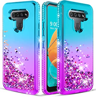 Wallme LG K51 Case (US Version),LG Reflect/LG Q51 Case w/HD Screen Protector [2 Pack],Glitter Diamond Sparkle Waterfall Quicksand,Bling Bling Protective Phone Case Cover for Girls Women - Teal/Purple