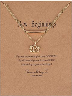 Wishoney Message Card Good Luck Card Lotus Necklace Lucky Elephant Pendant Necklace Woman Jewelry