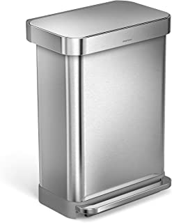 simplehuman 55 Liter / 14.5 Gallon Stainless Steel Rectangular Kitchen Step Trash Can with Liner Pocket, Brushed Stainless Steel