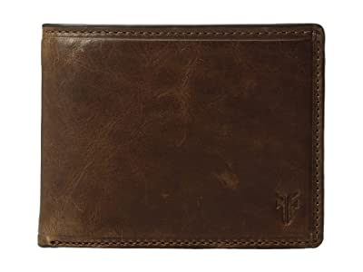 Frye Logan Slim ID Billfold (Dark Brown Antique Pull-Up) Bill-fold Wallet